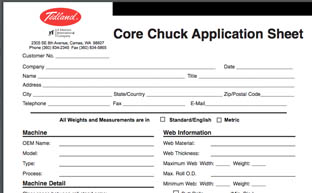 Hoja Core Chuck Application Sheet